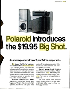 $19.95 MSRP In 1971, The Polaroid Big Shot