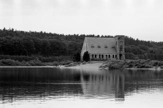 The Old Stone Church, West Boylston, Massachusetts, As Seen From The Wachusett Reservoir