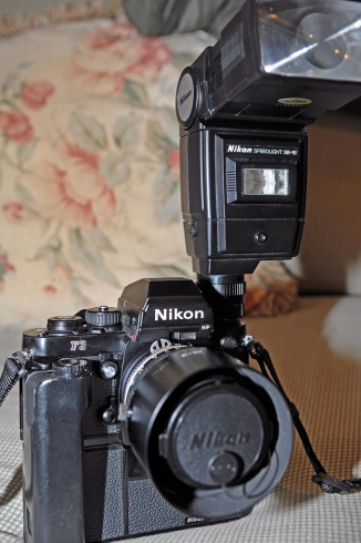 Nikon F3HP, Mounted With MD-4 Motor Drive, 28-50 Ai-S Nikkor, And SB-16 Speedlight
