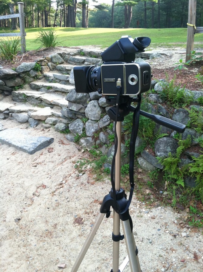 My Hasselblad 500 C/M, On Location, As Taken With The iPhone 4 (I Know....)