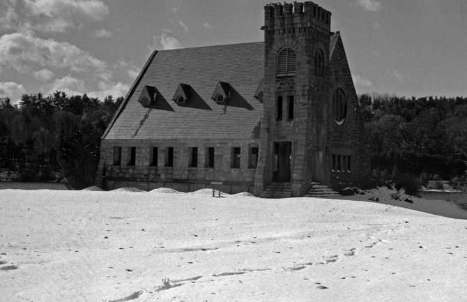 The Old Stone Church After A Freak October Snowstorm