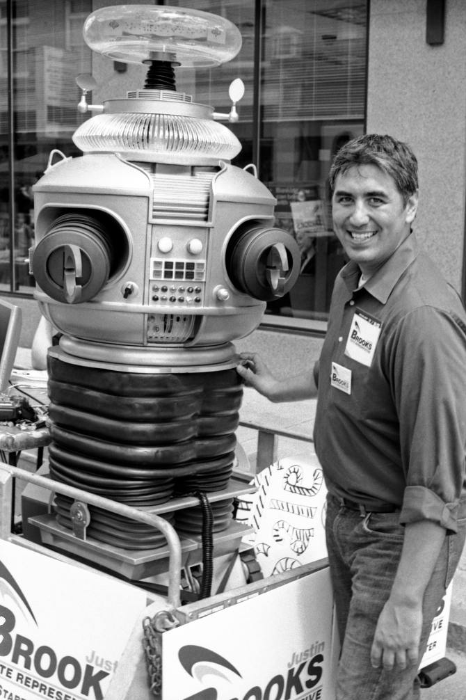 """Danger, Will Robinson, danger!"" State Rep candidate Justin Brooks and Lost In Space's Robot."