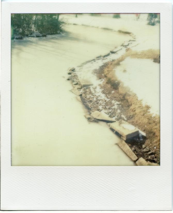 1 19 13 Elm Park Frozen Pond Polaroid SX70 Impossible Project PX70 Color Protection