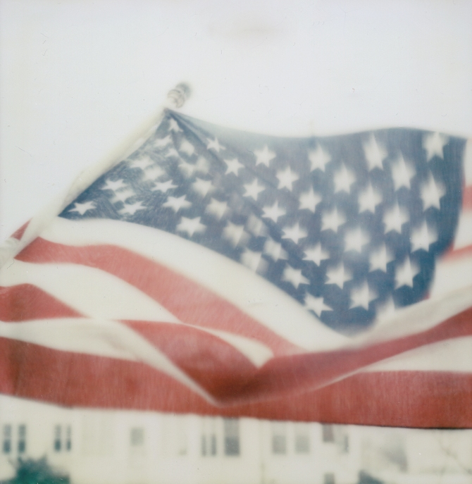 American Flag 2 8 13 Polaroid SX70 Impossible Project Color Protection Film 2 Notches Darken