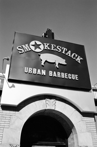 Front of Smokestack Urban Barbecue on Green Street.
