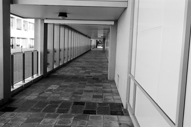 """I got a lot of """"money shots' on this roll. This walkway to the library is always a great spot to shoot- wide, or, telephoto."""