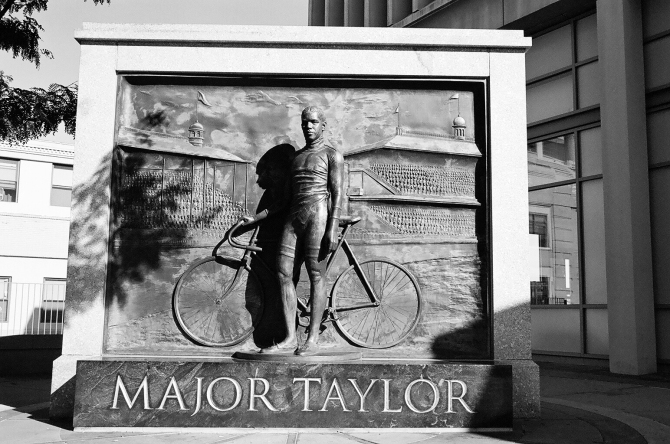 Major Taylor, America's first African-American sports superstar. from Worcester, Taylor raced under the colors of the Iver Johnson Arms and Cycle Company in Fitchburg, Massachusetts. And was a world champion racer.