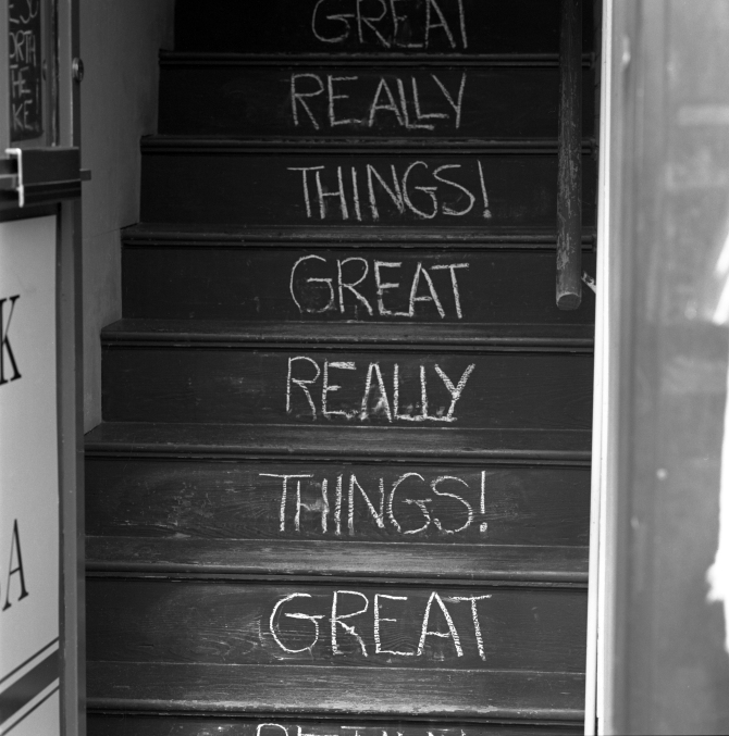 Really Great Things! Stairway to an antique/gift shop in Concord.