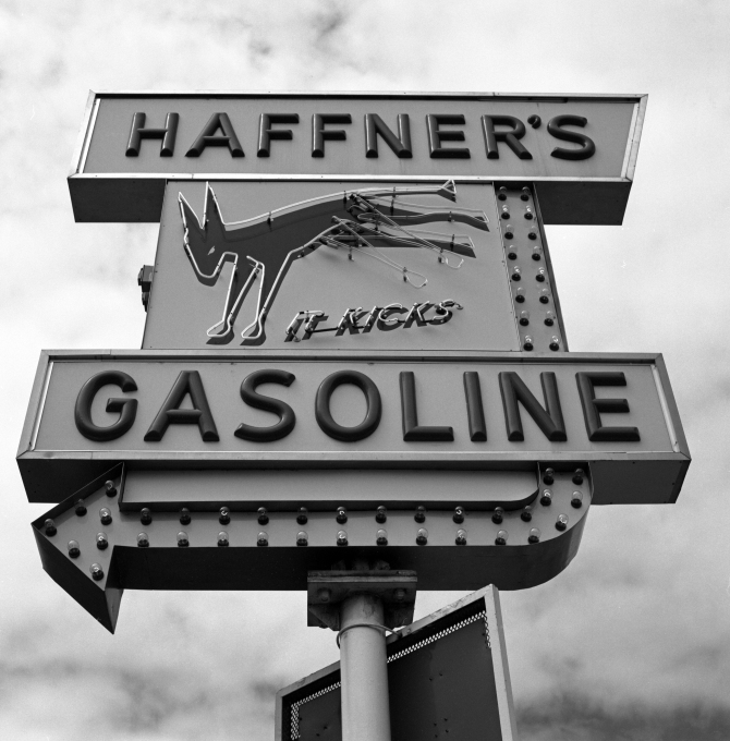A historin Lowell landmark- locally distributed Haffner's Gasoline. I think this is the first one- the sign has been there forever, and I have always wanted to make a good photograph of it.