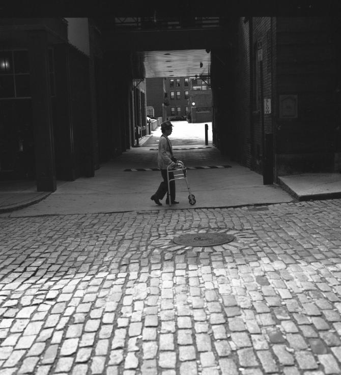 Walking the cobblestone.