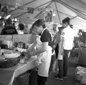 Preparing food.